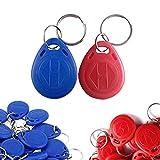 Anyasen 50 Stücke 125khz RFID Chips transponder chip Chipschlüssel EM4100 RFID-Transponder-Schlüsselring ID Karte Etikett Token Code Schloss Key fob Schlüsselanhänger Nur Lesen Chip Tags Rot und Blau