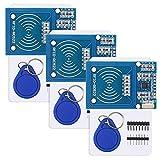 YXPCARS 3 x RFID Kit für Arduino Raspberry Pi, RC522 RF IC Reader Sensor Modul + S50 Karte + RFID Chips mit 13,56 MHz Transponder (Packung mit 3)