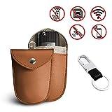 Newseego Mini RFID Keyless Go Schutz Autoschlüsse, Mini Car Key Signal Blocker RFID Faraday Bag, Premium Faraday Keyless Entry Car Key Security Accessories Includes Keychain (Braun)