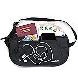 Tronature Flache Bauchtasche RFID Schutz - sicher für Reisen und Sport - Schmal, Wasserdicht, Diebstahlsicher mit RFID, Reisegürtel Schwarz